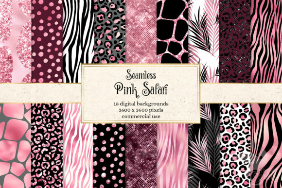 Print on Demand: Pink Safari Digital Paper Grafik Textures von Digital Curio