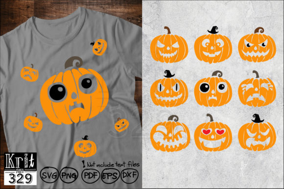 Pumpkin Face Svg Bundle Funny Halloween Graphic Crafts By Krit-Studio329