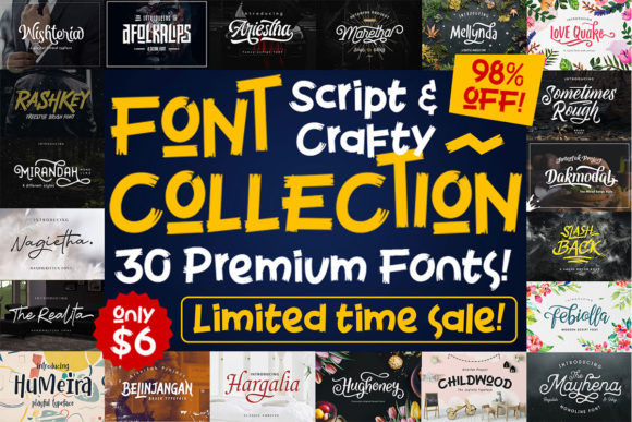 Print on Demand: Script & Crafty Font Collection  By Arterfak Project