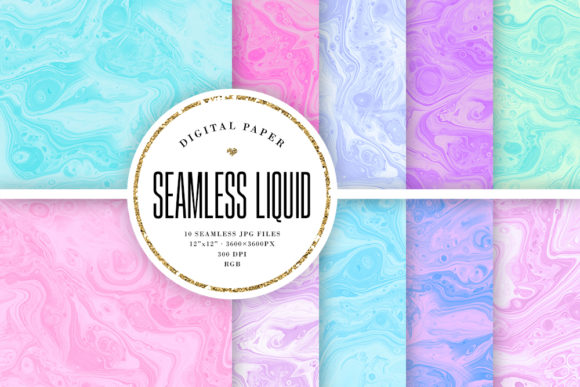 Print on Demand: Seamless Pastel Liquid Ink Backgrounds Graphic Backgrounds By Sabina Leja