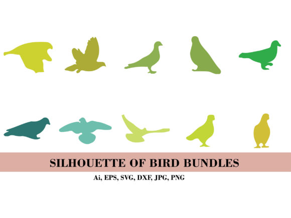 Silhouette Bundle of Green Bird Graphic Illustrations By themagicboxart
