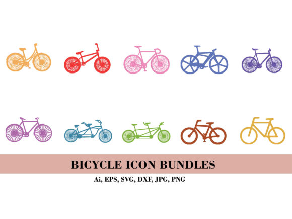 Silhouette of Bicycle Icon Bundle Graphic Illustrations By themagicboxart