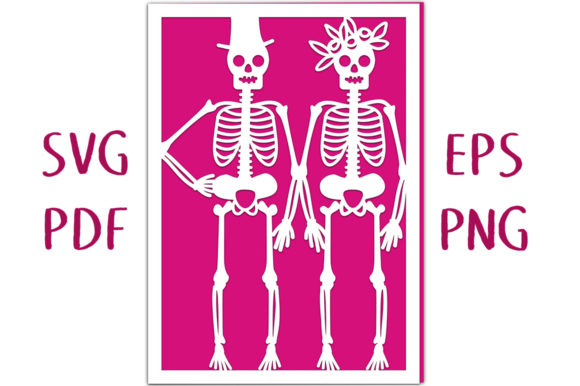 Skeleton Couple Card SVG Cut File Graphic 3D SVG By Nic Squirrell