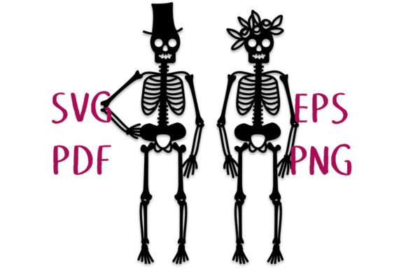 Skeleton Couple SVG Cut File Graphic Crafts By Nic Squirrell