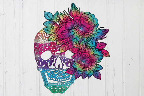 Skull Tie Dye Sublimation with Floral Graphic Crafts By riryndesign