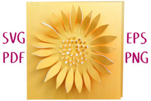 Sunflower 3D Card SVG Cut File Graphic 3D SVG By Nic Squirrell