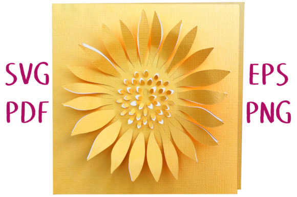 Print on Demand: Sunflower 3D Card SVG Cut File Graphic 3D SVG By Nic Squirrell