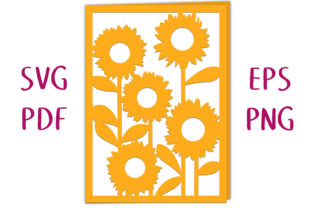 Sunflower Garden Card SVG Cut File Graphic 3D SVG By Nic Squirrell