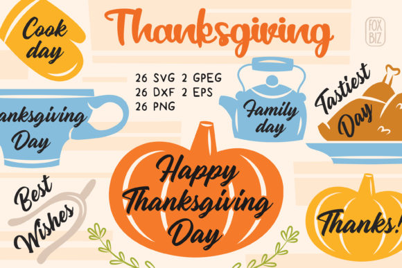 Print on Demand: Thanksgiving Clip Art. Design for Print. Graphic Illustrations By FoxBiz