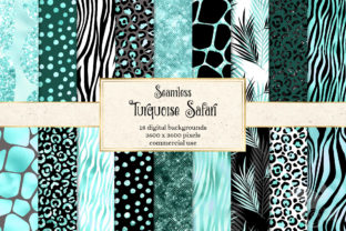 Print on Demand: Turquoise Safari Digital Paper Graphic Textures By Digital Curio