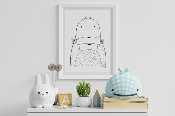 Print on Demand: Wall Art,Cute Walrus Animal Clip Art Graphic Illustrations By Saydung89