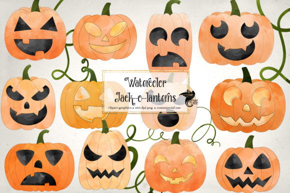 Print on Demand: Watercolor Jack O Lanterns Clipart Graphic Illustrations By Digital Curio