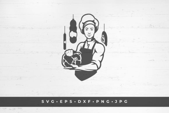 Young Male Butcher Holding a Ham in Hand Graphic Illustrations By vasyako1984