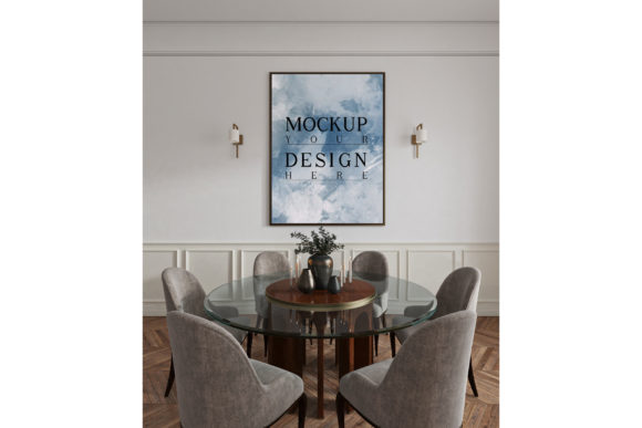 Dinningroom with Poster Mockup Frame Graphic Product Mockups By izharartendesign