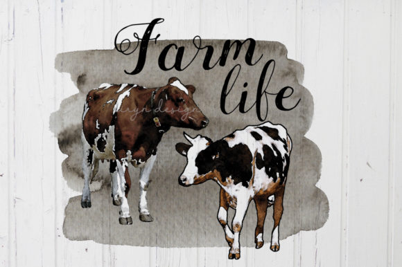Farmlife Cow Sublimation Design Clipart Graphic Crafts By riryndesign