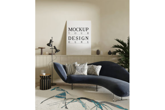 Mockup Poster in Contemporary Livingroom Graphic Product Mockups By izharartendesign