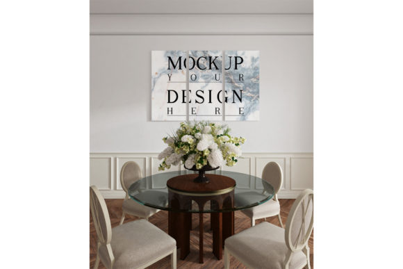 Mockup Poster in Modern Dinningroom Graphic Product Mockups By izharartendesign