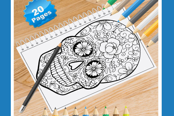 Print on Demand: 20 Floral Skull Coloring Pages for Adult Graphic Coloring Pages & Books Adults By Coloring World