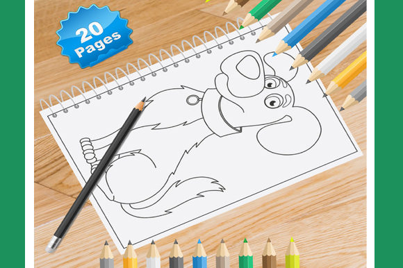 Print on Demand: 20 Funny Dog Coloring Pages Graphic Coloring Pages & Books Kids By Coloring World