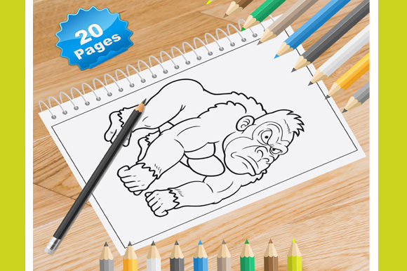 Print on Demand: 20 Gorilla Coloring Pages for Kids Graphic Coloring Pages & Books Kids By Coloring World