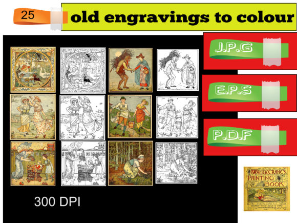 Print on Demand: 25 Old Images to Colour in Vintage 1900 Graphic Coloring Pages & Books By kdp Edition