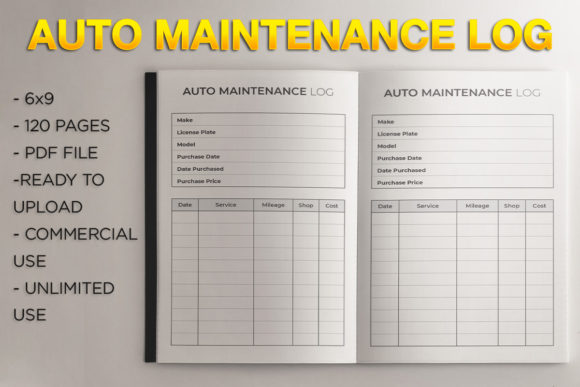 Print on Demand: Auto Maintenance Log L KDP Template Graphic KDP Interiors By KDP Product