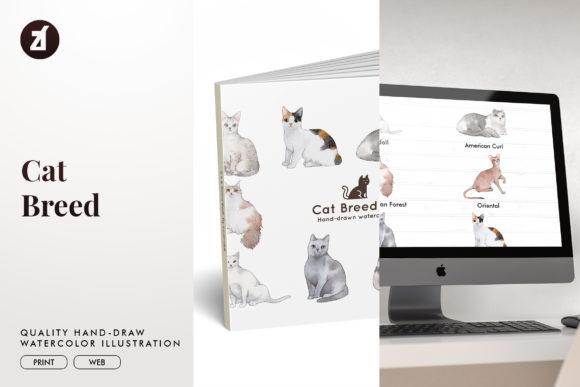 Cat Breed Set1 Graphic Illustrations By Chanut is watercolor
