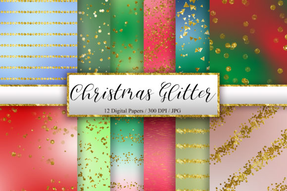 Christmas Glitter Digital Papers Graphic Backgrounds By PinkPearly