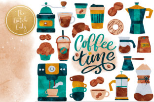 Print on Demand: Coffee Shop Clipart Set Graphic Illustrations By daphnepopuliers