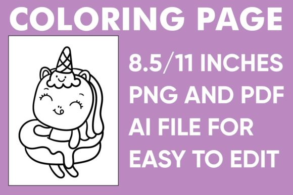 Print on Demand: Cute Unicorn Coloring Page - KDP Graphic Coloring Pages & Books Kids By Mah Moud