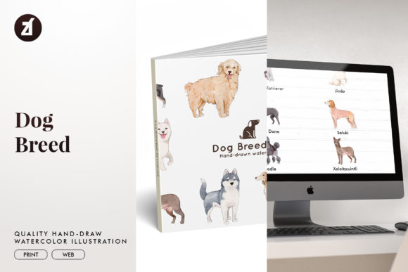 Dog Breed Set3 Graphic Illustrations By Chanut is watercolor