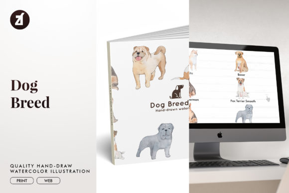 Dog Breed Set4 Graphic Illustrations By Chanut is watercolor