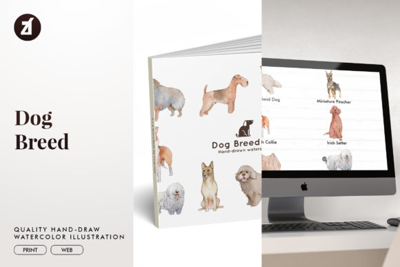 Dog Breed Set8 Graphic Illustrations By Chanut is watercolor