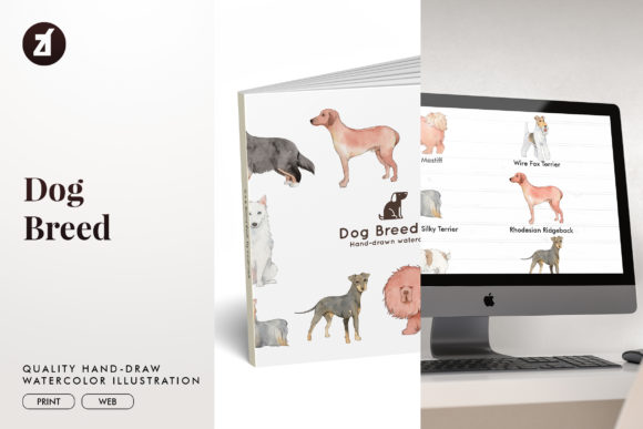 Dog Breed Set9 Graphic Illustrations By Chanut is watercolor