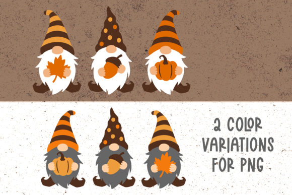 Fall Gnomes Clipart Graphic Download