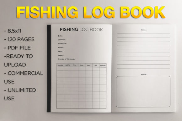 Print on Demand: Fishing Logbook | KDP Template Graphic KDP Interiors By KDP Product