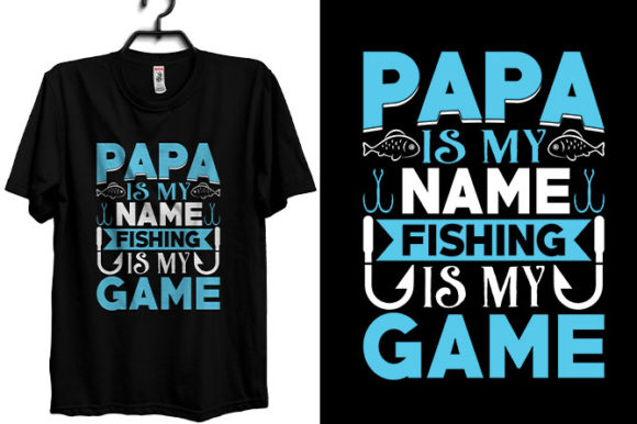 Fishing T-shirt Design with Papa & Dad Graphic Print Templates By Storm Brain