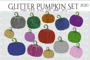 Print on Demand: Glitter Pumpkins Set 2020 Graphic Illustrations By CapeAirForce