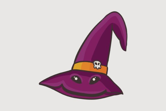 Print on Demand: Halloween Smile Witch Hat Graphic Illustrations By purplebubble