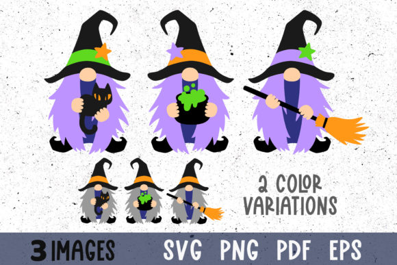Halloween Witch Gnomes Clipart Graphic Crafts By GreenWolf Art