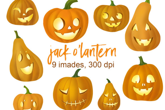 Jack O Lantern Clipart Graphic Illustrations By lena-dorosh