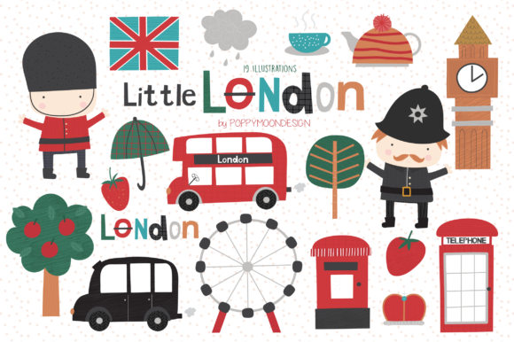 Print on Demand: Little London Clipart Set Graphic Illustrations By poppymoondesign