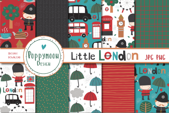 Print on Demand: Little London Paper Set Graphic Patterns By poppymoondesign