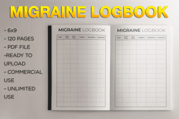 Print on Demand: Migraine Logbook L KDP Template Graphic KDP Interiors By KDP Product