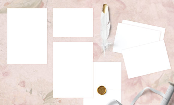 Print on Demand: Rosepink Wedding Invite Mockup Graphic Product Mockups By underscore
