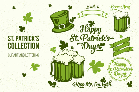 St. Patrick's Day Clipart and Lettering Graphic Illustrations By hellokisdottir