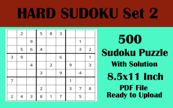 Sudoku Puzzle 500 Hard 8.5x11 Volume 2 Graphic KDP Interiors By Seven Elephant