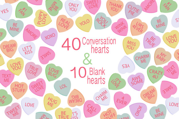 Valentine Clipart - Candy Hearts Graphic Illustrations By LeskaHamatyDesign