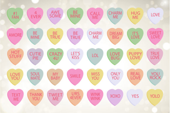 Valentine Clipart - Candy Hearts Graphic Download