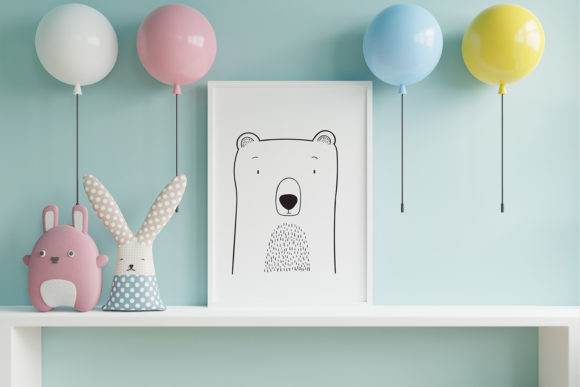 Print on Demand: Wall Art,Cute Bear Animal Clip Art Graphic Illustrations By Saydung89